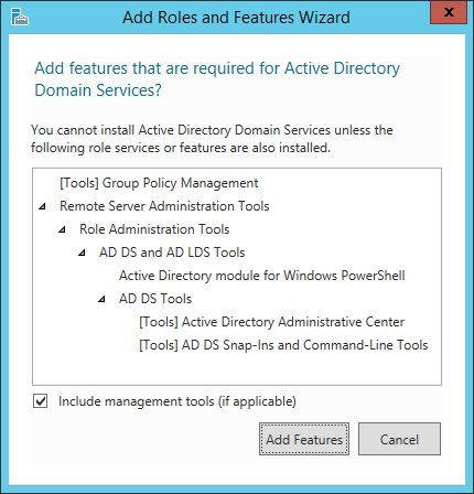 Active Directory Add Features