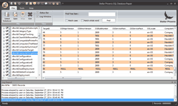 SQL Database Table View
